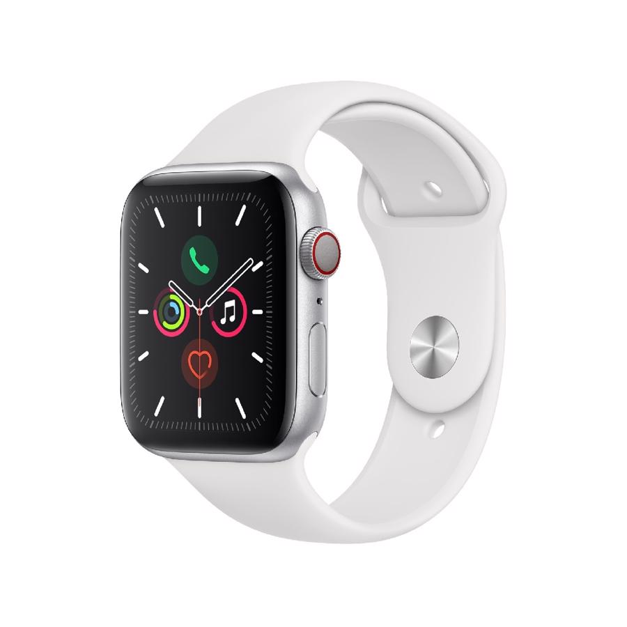 Apple Watch Series 5 (GPS + Cellular) 44mm Silver Aluminium Case White Sport Band