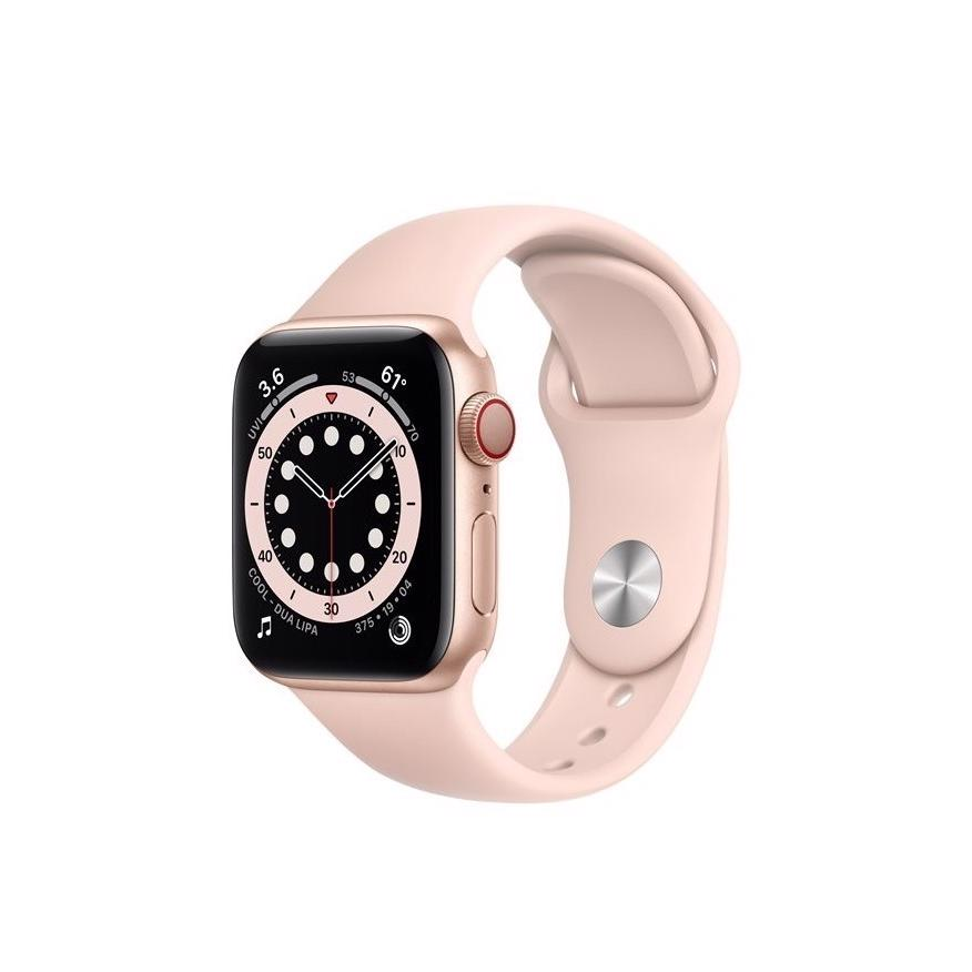 Apple Watch Series 6 GPS 40mm Gold Aluminium Case med Pink Sand Sport Band