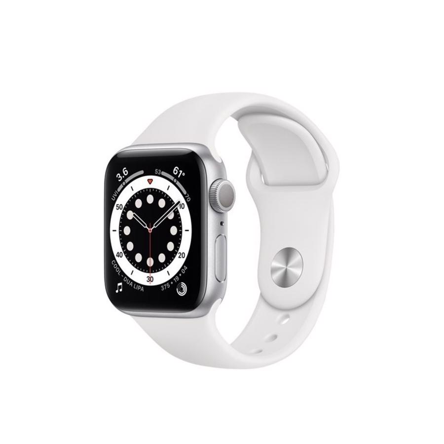 Apple Watch Series 6 GPS & 4G 40mm Silver Aluminium Case med White Sport Band