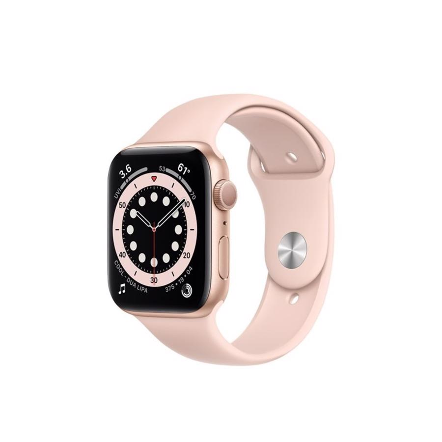 Apple Watch Series 6 GPS 44mm Gold Aluminium Case med Pink Sand Sport Band