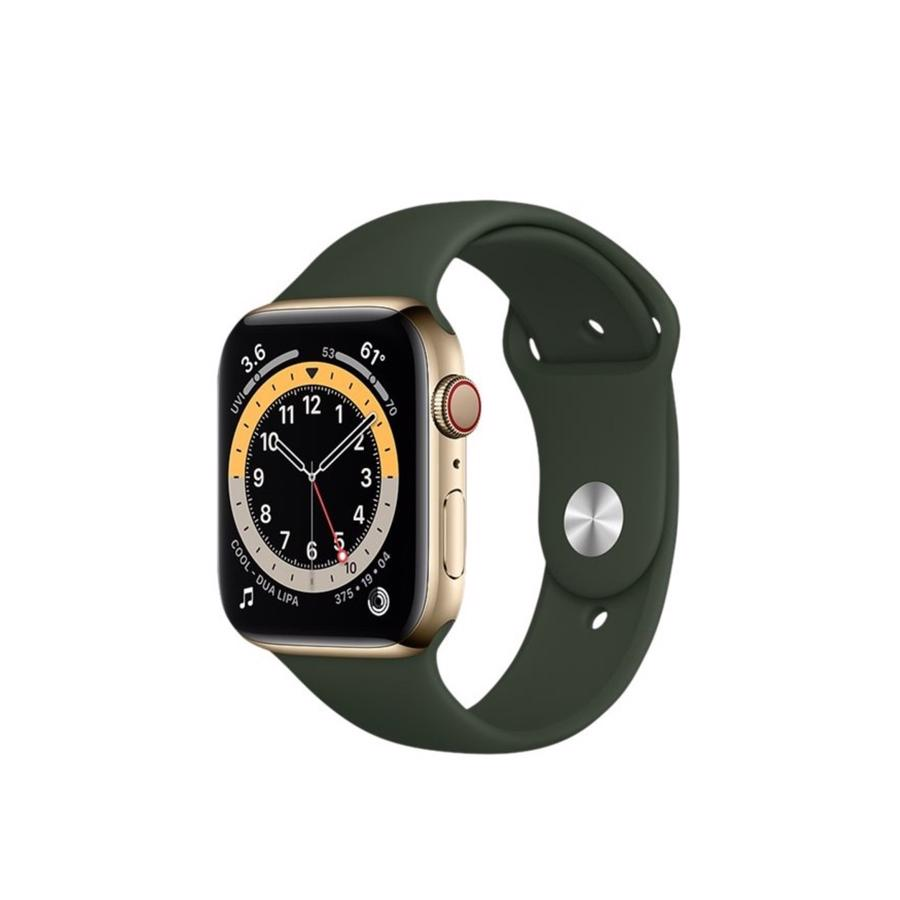 Apple Watch Series 6 GPS & 4G 44mm Gold Rustfri stål Case med Cyprus Green Sport Band