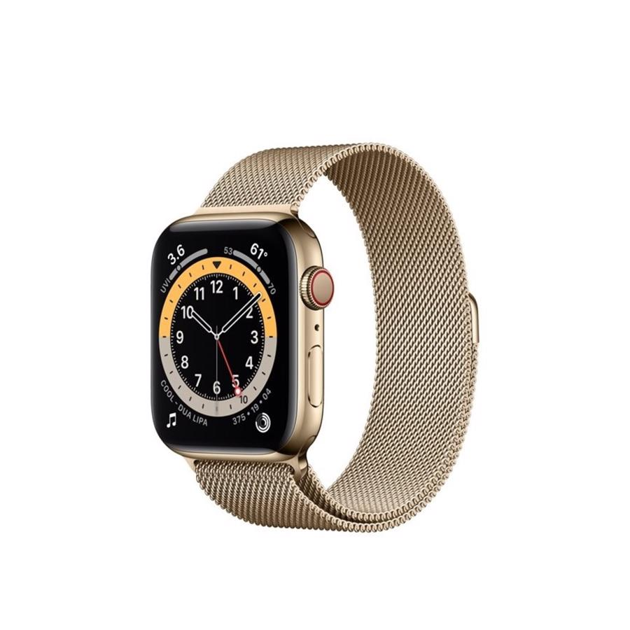 Apple Watch Series 6 GPS & 4G 44mm Gold Rustfri stål Case med Gold Milanese Rem