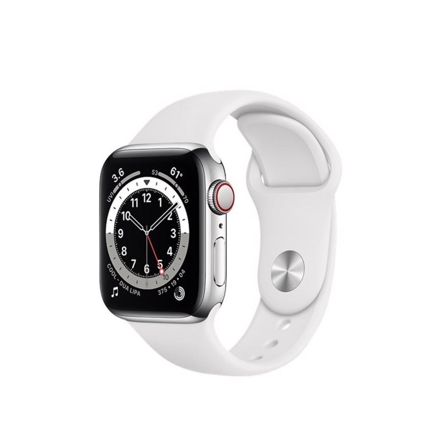 Apple Watch Series 6 GPS & 4G 44mm Silver Aluminium Case med White Sport Band