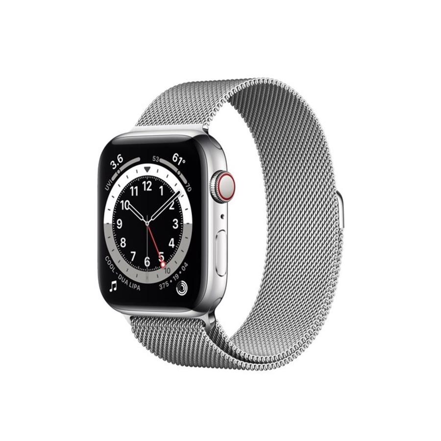 Apple Watch Series 6 GPS & 4G 44mm Silver Rustfri stål Case med Silver Milanese Rem