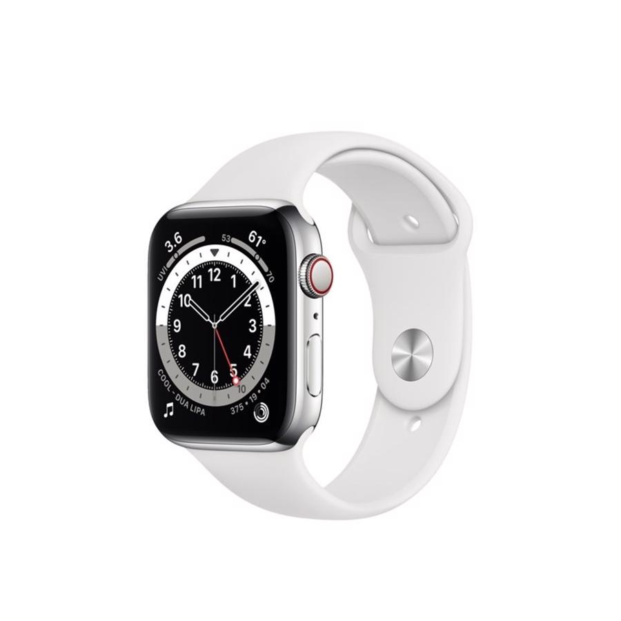 Apple Watch Series 6 GPS & 4G 44mm Silver Rustfri stål Case med White Sport Band