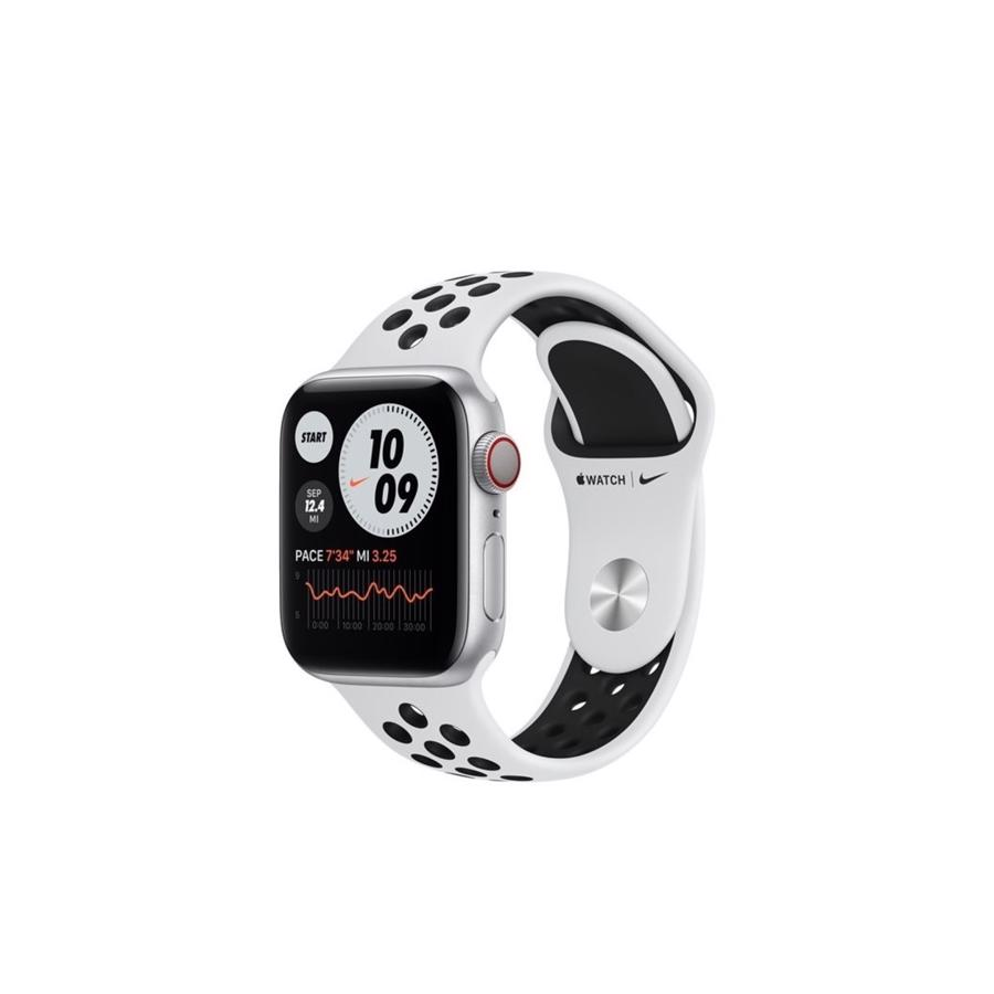 Apple Watch Nike Series 6 GPS & 4G 40mm Silver Aluminium Case med Pure Platinum/Black Nike Sport Band