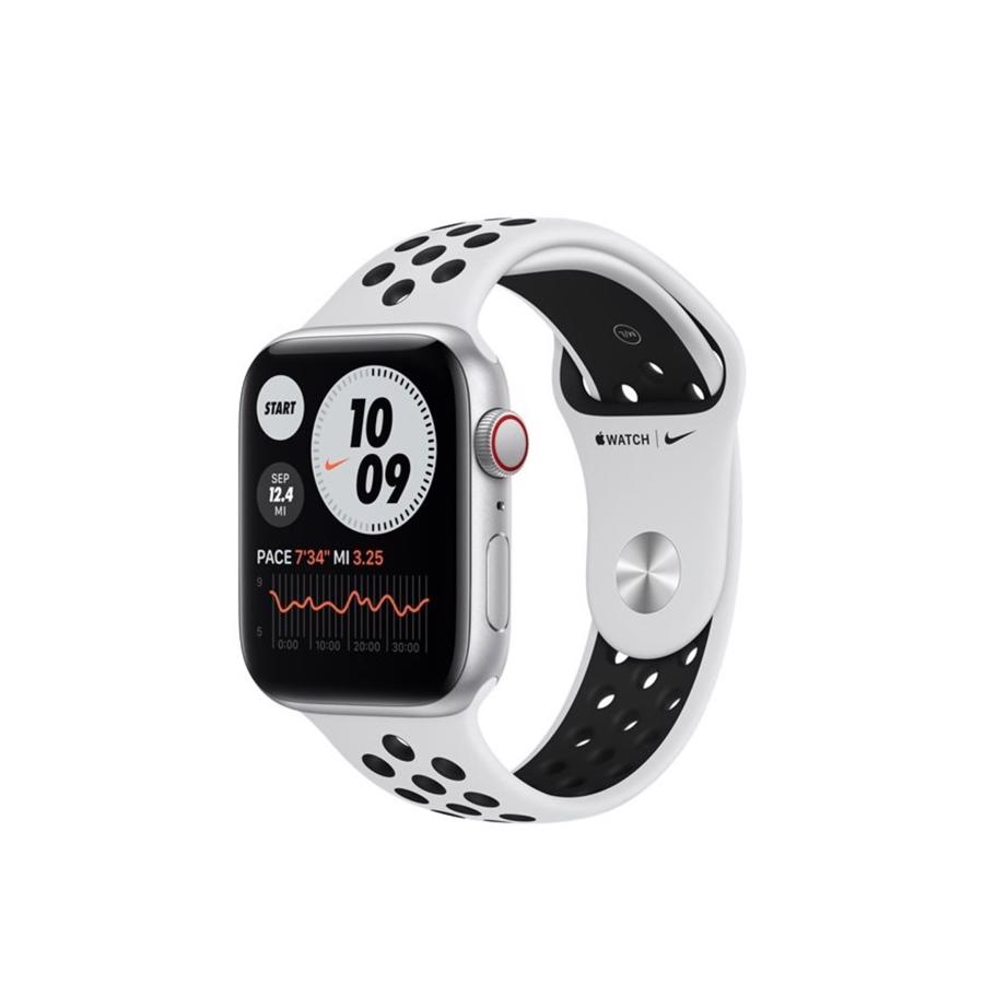 Apple Watch Nike SE GPS & 4G 44mm Silver Aluminium Case med Pure Platinum/Black Nike Sport Band