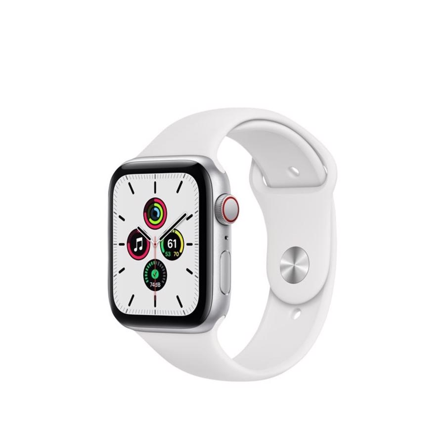 Apple Watch SE GPS & 4G 44mm Silver Aluminium Case med White Sport Band